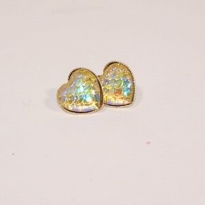 Heart shaped yellow mermaid scale earrings